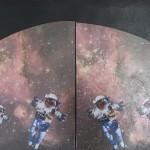 "Ten little black Indians MM collage AC painting  24 x 60"" 2015"